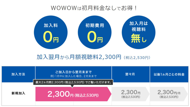 WOWOW 初月料金 2,530円税込み