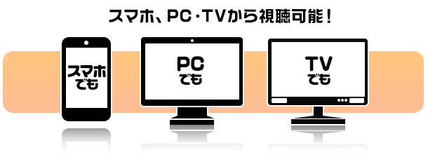スマホ、PC・テレビから視聴OK