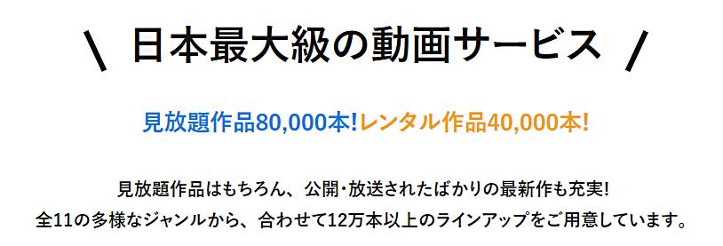 日本最大級の動画配信サービス1
