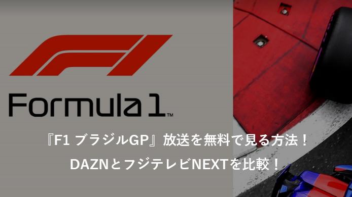 『F1 ブラジルGP』放送を無料で見る方法!ネット中継のDAZNとCSテレビのフジテレビNEXTを比較!